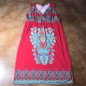 Mlle Gabrielle 3X red boho maxi dress